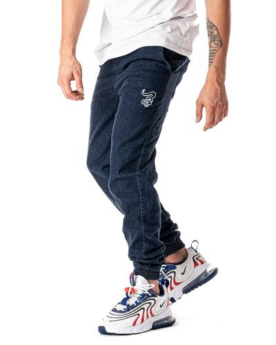 Spodnie Jeans Jogger Grube Lolo Dymek Ciemnoniebieskie / Białe
