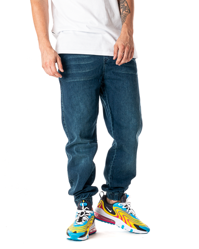 Spodnie Jeans Jogger Grube Lolo Mustache Marmurkowe Morskie