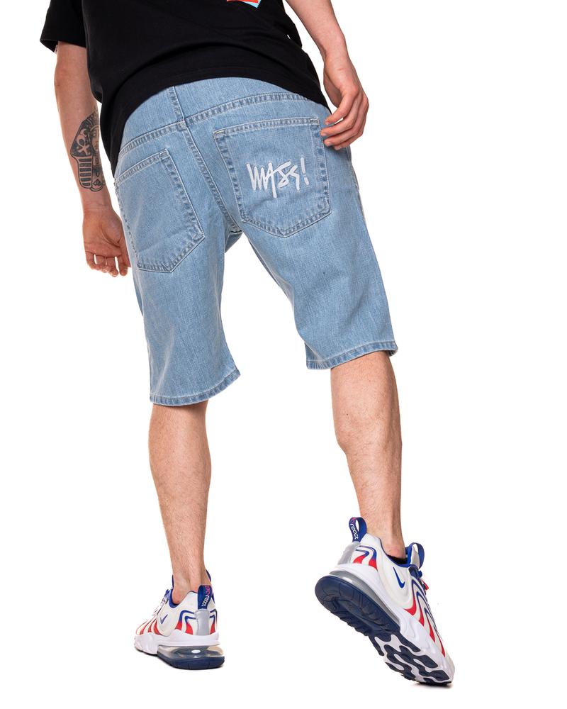 Krótkie Spodenki Mass Jeans Z Gumą Signature Jasne Niebieskie / Białe
