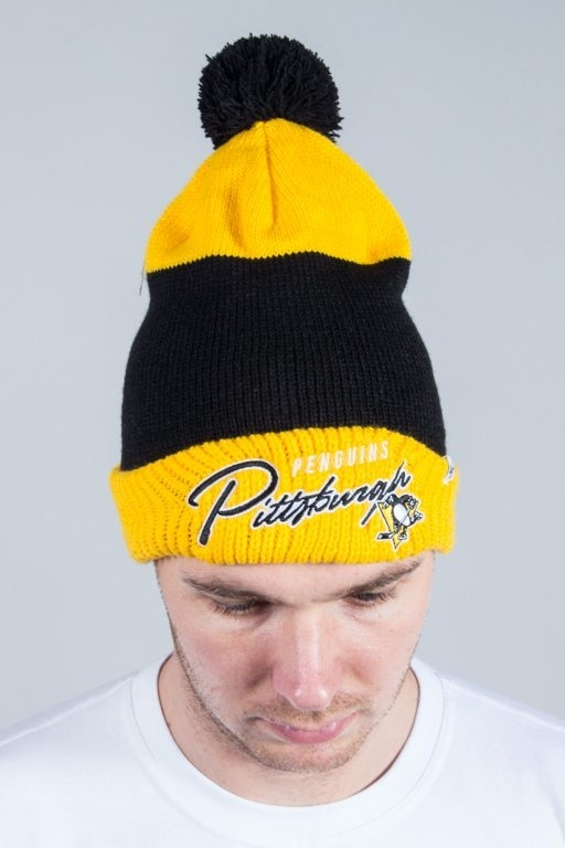 47 BRAND WINTER CAP HUSTLE CUFF KNIT WITH POM POM PITTSBURGH PENGUINS