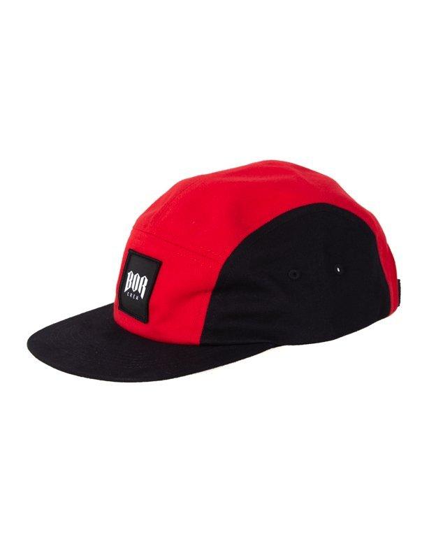 Czapka Bor 5Panel Kwadrat New Black-Red