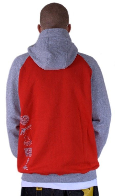 MASS BLUZA Z KAPTUREM ZIP CARTEL RED-GREY