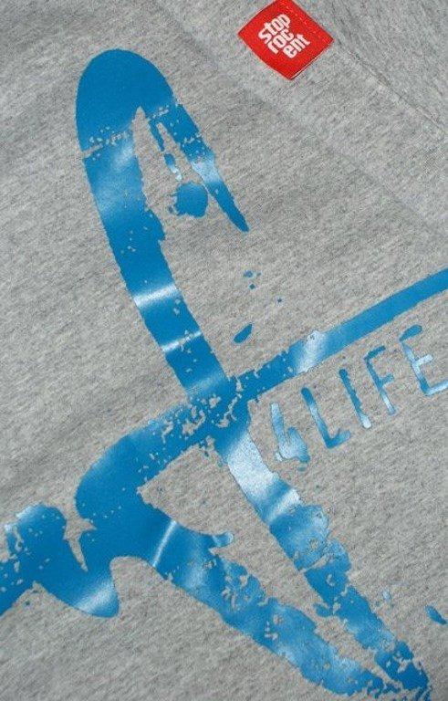 STOPROCENT BLUZA FRONTBACK MELANGE-BLUE