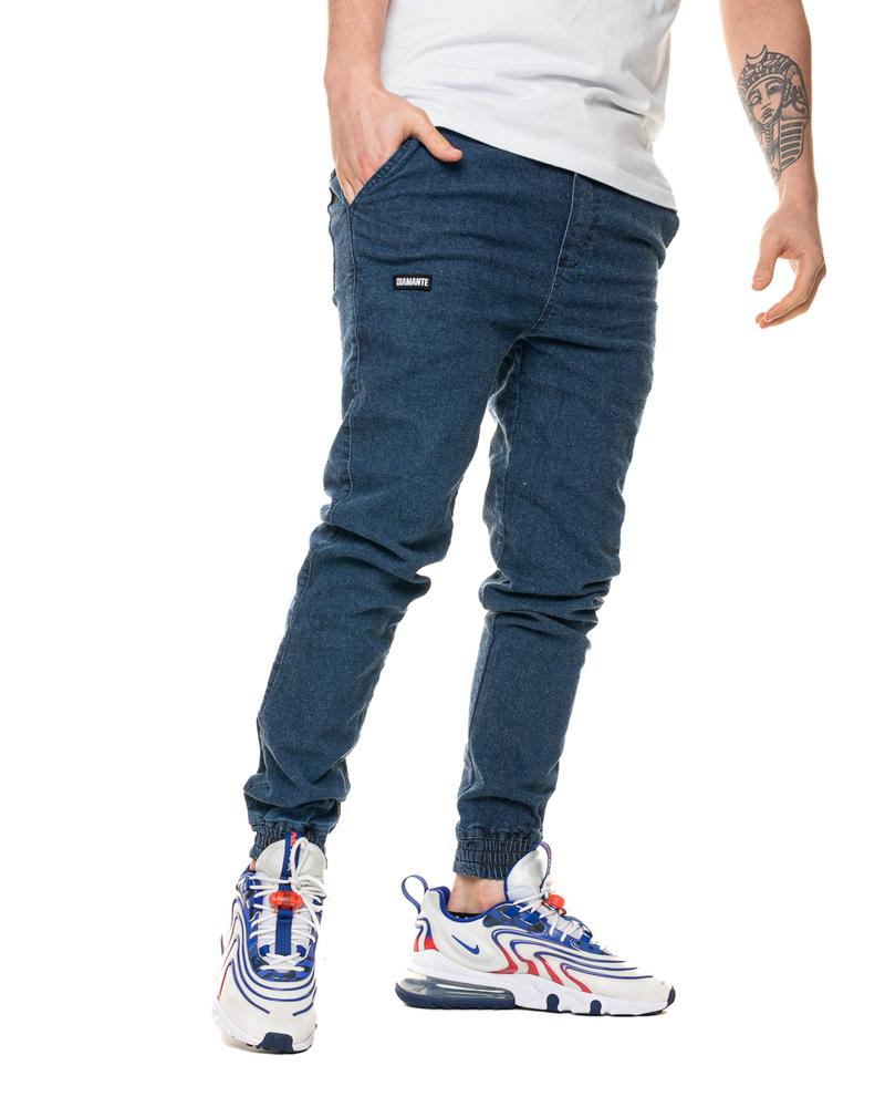 Spodnie Jeans Jogger Diamante Wear Marmur Niebieskie