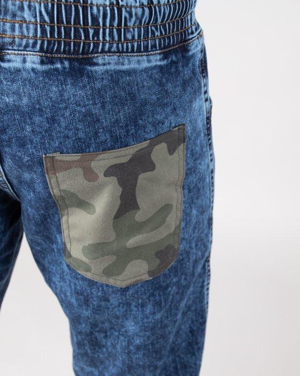 Spodnie Moro Jeansy Jogger Straight Fit Camo Pocket Marmur