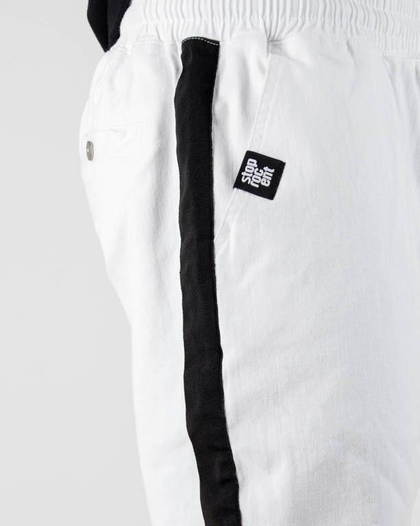 Spodnie Stoprocent Chino Jogger Lampas White-Black